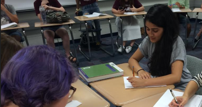 Creative Writing Club Leader and Senior Kylie Gardner works on writing piece for the first meeting on September 12th. According to Gardner, the more members write, the better writers they will become