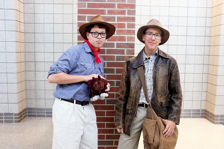 """Will Culpepper and Evan Dawson, sophomores, are dressing up as Indiana Jones to have a different take on throwback Thursday. They said they didn't have any bright, neon clothes so they improvised. """"I didn't want to look like everyone else here but I also didn't have anything else to wear so I guess it worked,"""" Culpepper said."""