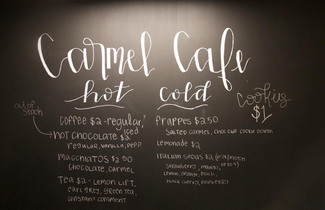 The+Carmel+Caf%C3%A9%27s+blackboard+menu.+Reid+said+that+the+menu+will+improve+with+new+items+and+recipe+changes+in+the+future.