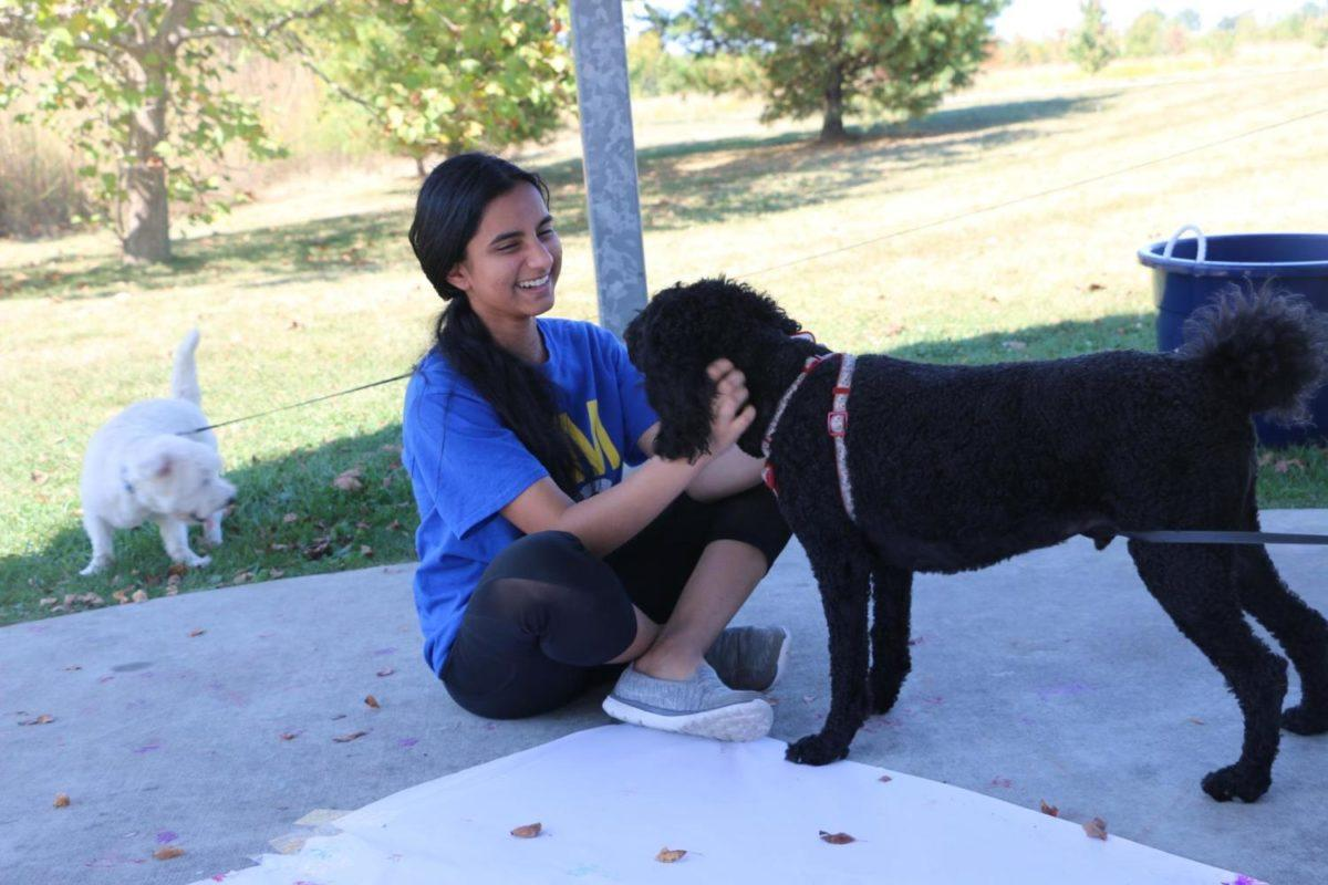 """Junior Shubhi Sinha pets one of the dogs that is at the event and enjoys watching dogs participate in the activities CMYC set up. """"My favorite part of Bow Wow Bash is the obstacle course … Our fastest time so far was 35 seconds,"""" Sinha said."""