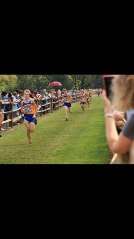 The Carmel men's cross-country team participates in a meet.