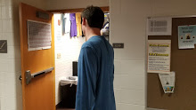 Jackson Adams, Greyhound Connections president and senior, walks in Mr. Stuelpe's Room, E219, for SRT. Greyhound Connections often use SRT to meet with their assigned new students