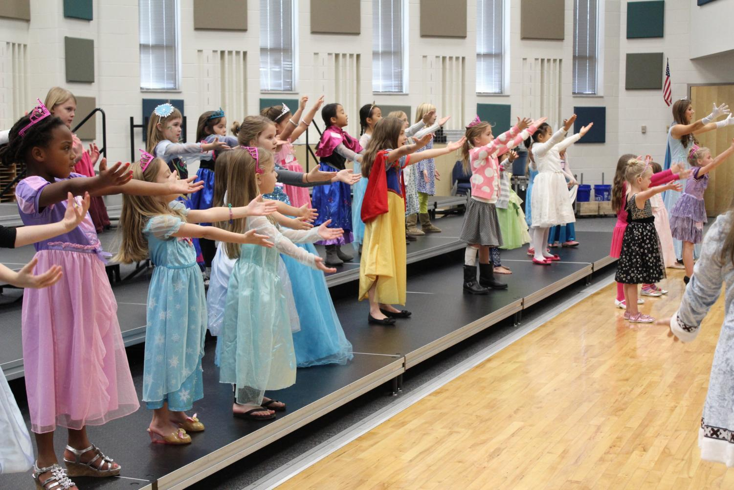 Accents members teach Princess Academy participants to dance. Kouns said the Princess Academy is also a great opportunity for early recruitment, since many parents express interest in having their kids join the choir program at this school.