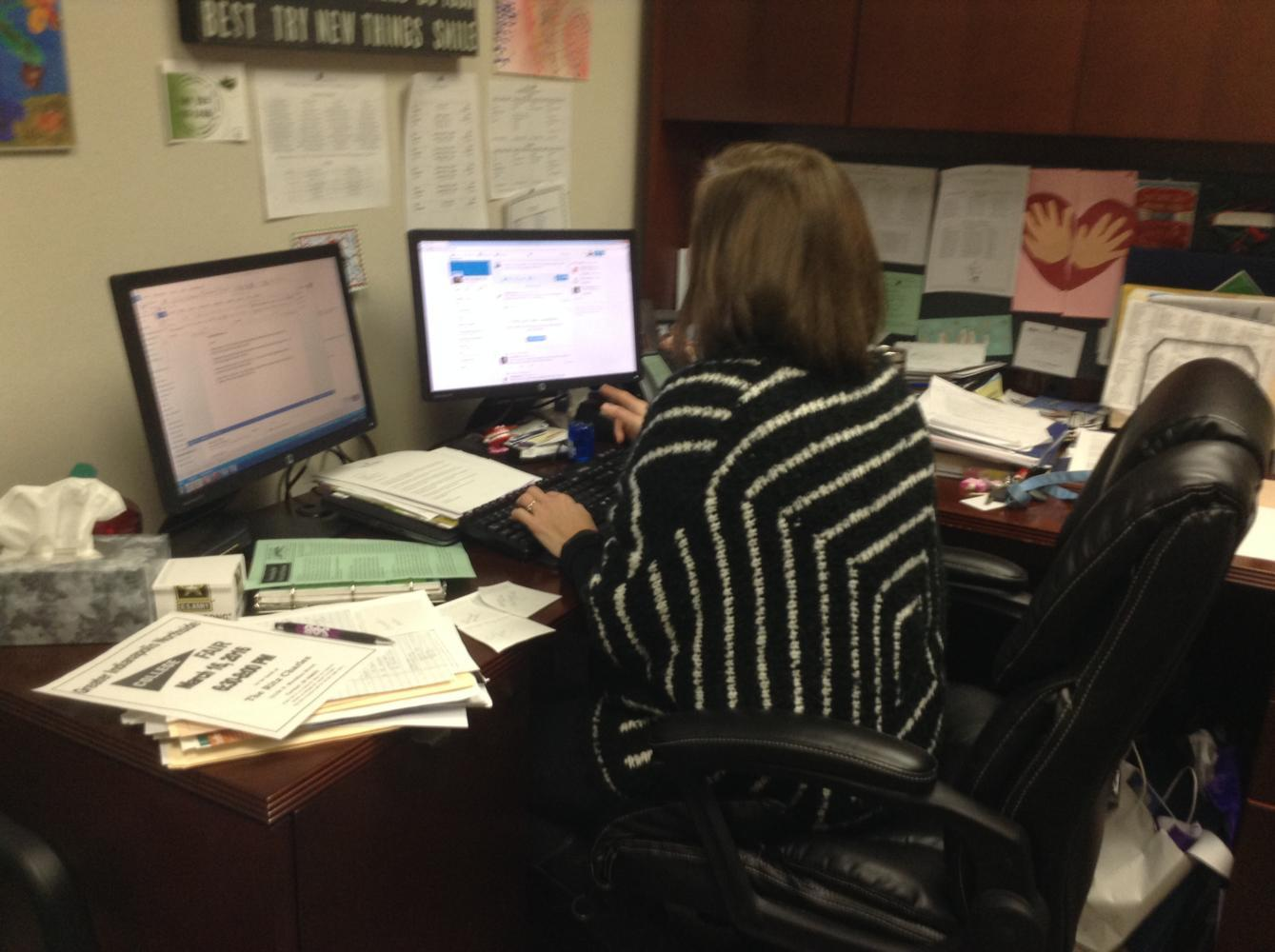 Melinda Stephen, College and Career Coordinator, works on an email about counseling center updates. Most of the information from the counseling center will be sent via email, but students will still receive information during SRT.