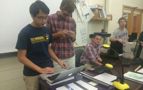 Students work on devices in Mr. Bonewit's class. Bonewit is known for his integration of cutting edge technology in the classroom.