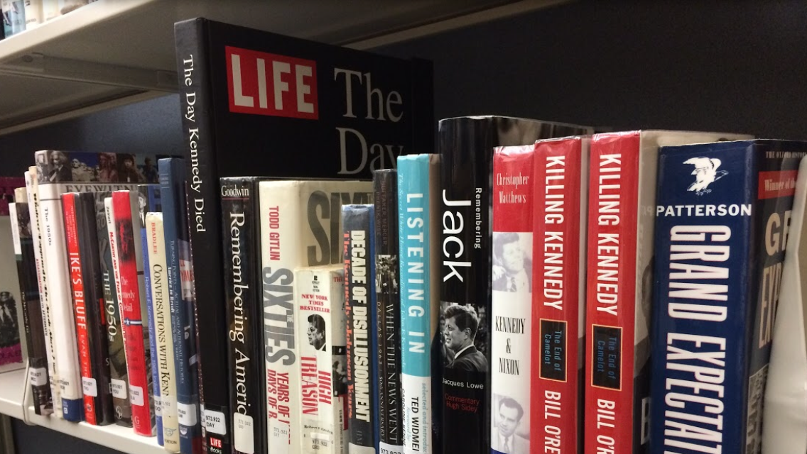 A collection of books related to the assassination lie in the CHS library. Oberoi said she believes the JFK files were withheld for security reasons.