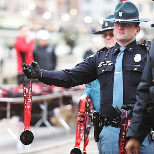 Since last year, Bolt for the Heart finishers have received medals from Indiana State Police officers. The 5k is nonprofit and 100 percent of the proceeds from the race go to causes such as putting AEDs in the cars of Indiana State Police.
