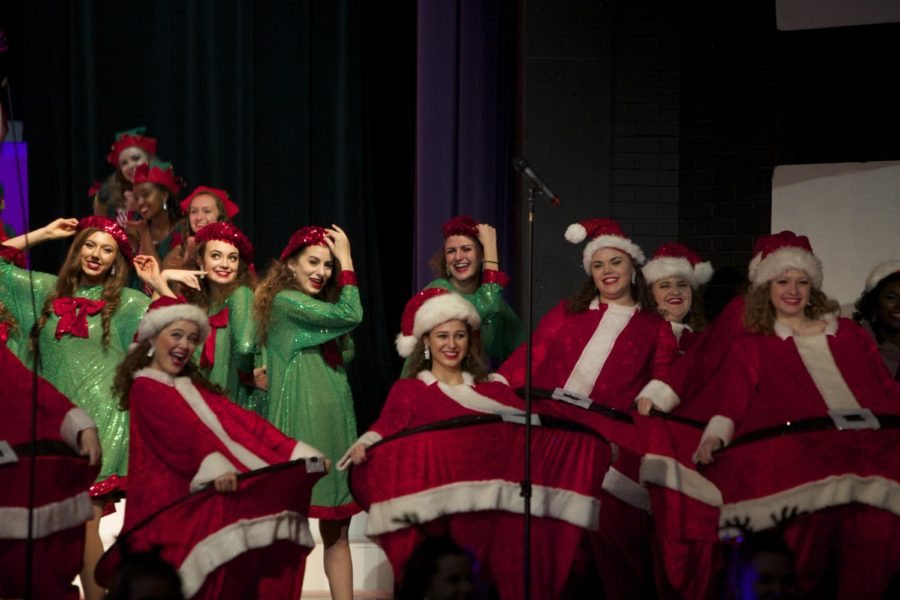 Accents perform in a group number from last year's Holiday Spectacular concerts. Senior Amelia Harrison said a favorite memory was when the Accents had to wear fat Santa costumes during their performance.