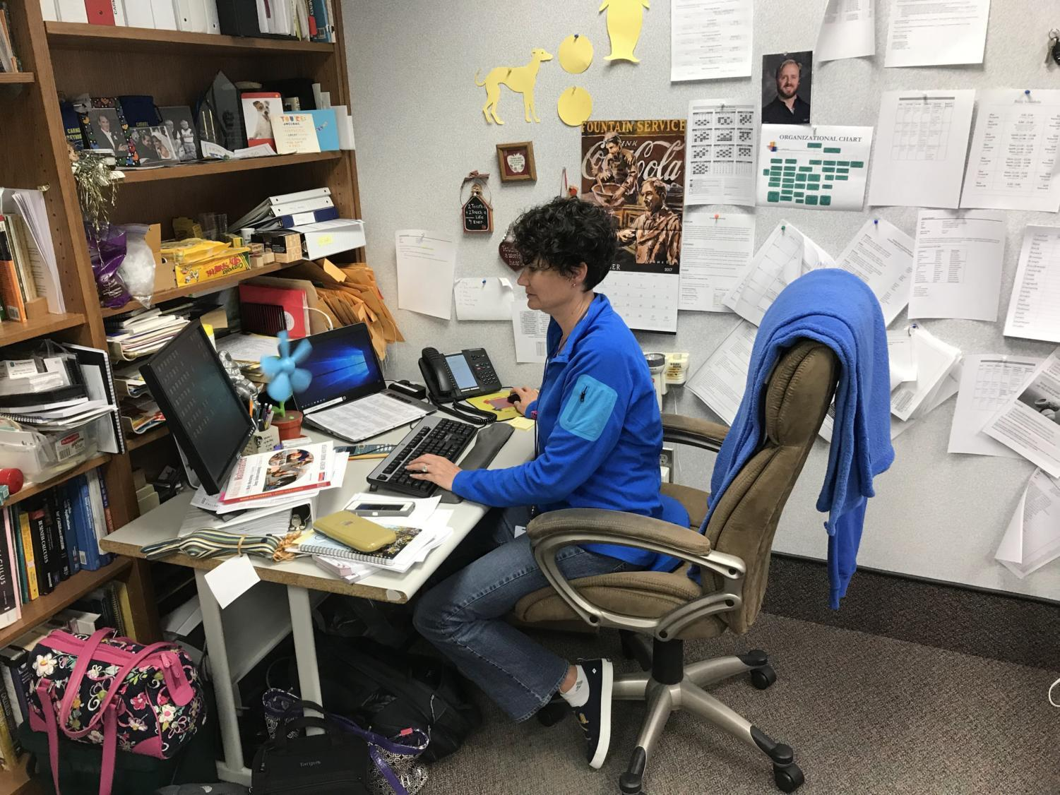 Math department chair Jacinda Sohalski quietly works at her desk. For the past few weeks, she has been working actively to help students with ISTEP remediation.