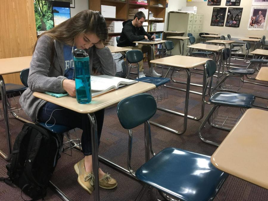 Breana Davis, K-8 mentor and senior, studies during Robin Pletcher's, AP Psychology and K-8 mentoring teacher, SRT. Davis said she is looking forward to developing a strong relationship with her mentorees.