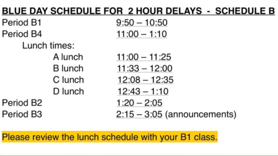 2-Hour Delay Schedule: Jan. 24