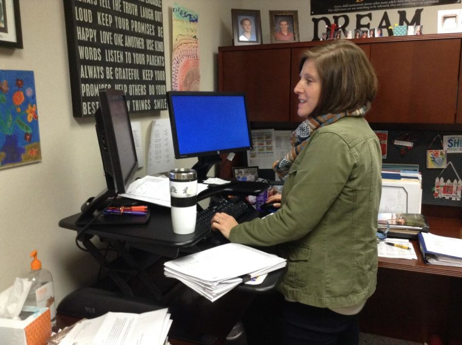 Melinda Stephan, College and Career Coordinator, works on an email about counseling center updates. Most of the information from the counseling center will be sent via email, but students will still receive information during SRT.