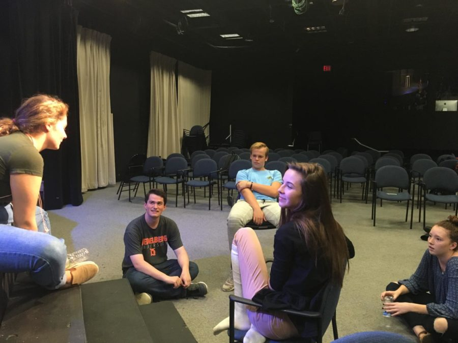 """Morgan Goodrich, lead actress in the winter production """"Peter and the Starcatcher,"""" rehearses with the rest of the cast after school. Goodrich said she believes CHS students and staff will enjoy the show."""