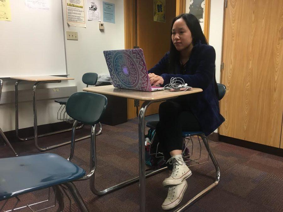 Emily Klotz, K-8 Mentor and senior, studies during K-8 Mentoring teacher Robin Pletcher's SRT. She said,