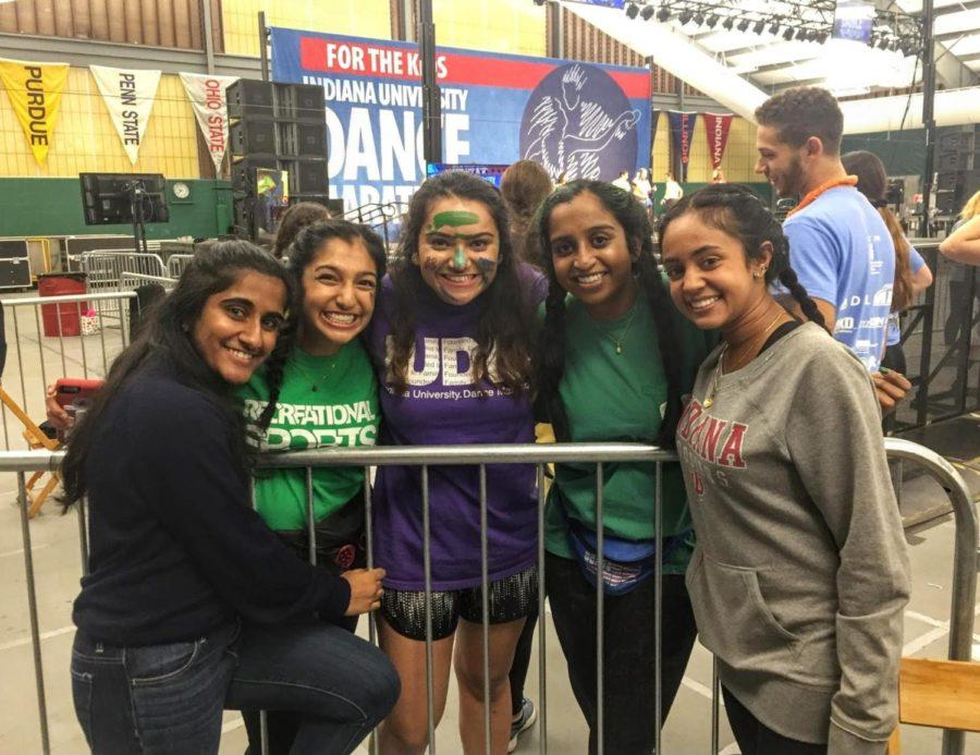 Pooja Jeykumar (one from right) poses with fellow IU Dance Marathon participants.
