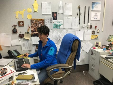 Math department chair Jacinda Sohalski quietly works at her desk. In the few weeks, she will be working to administer the ISTEP exams.