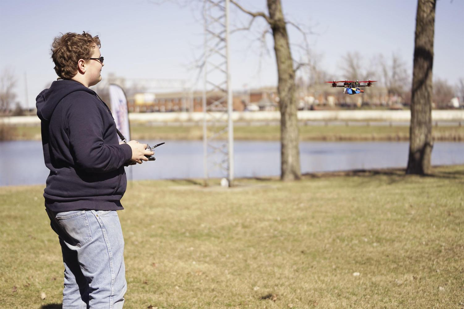 "Sophomore Abraham Levine flies a drone he built from scratch. Levine said, ""There are lots of guides to making drones and other ways to learn how a drone works. I started learning how to build a drone after I kept breaking and repairing a pre-built one. Eventually, I knew what did what and started buying my own parts."""