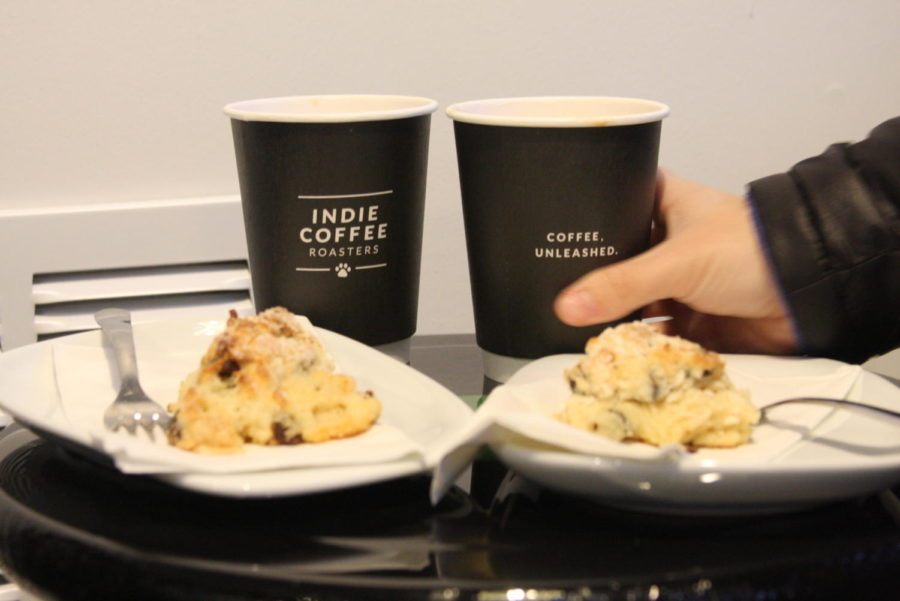 Lattes and Scones from Indie Coffee Roasters. Selena and Carson said they were impressed with both items.