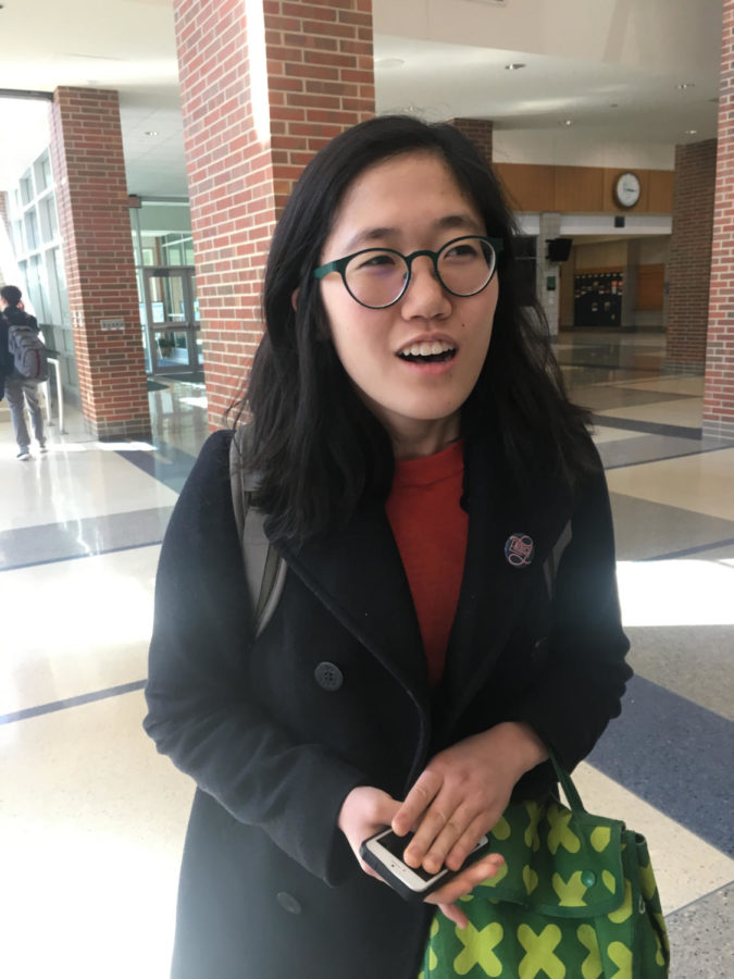 "Selin Oh, TEDx Speakers Committee Head and junior, discusses her responsibility of preparing the student speakers for the upcoming mini-conference. Oh said, ""With students, we have to develop the whole idea behind their talk with them, so that has been exciting."""