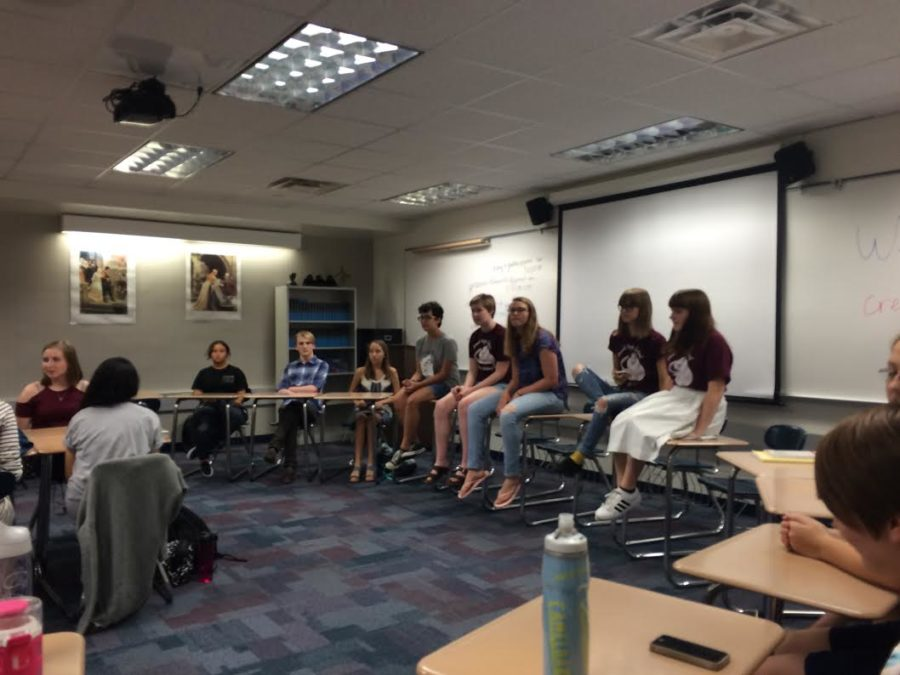 Creative Writing Club is discussing club participation in the annual Creative Writing Contest. The winners will be announced next Tuesday, as well as next Friday on the announcements.