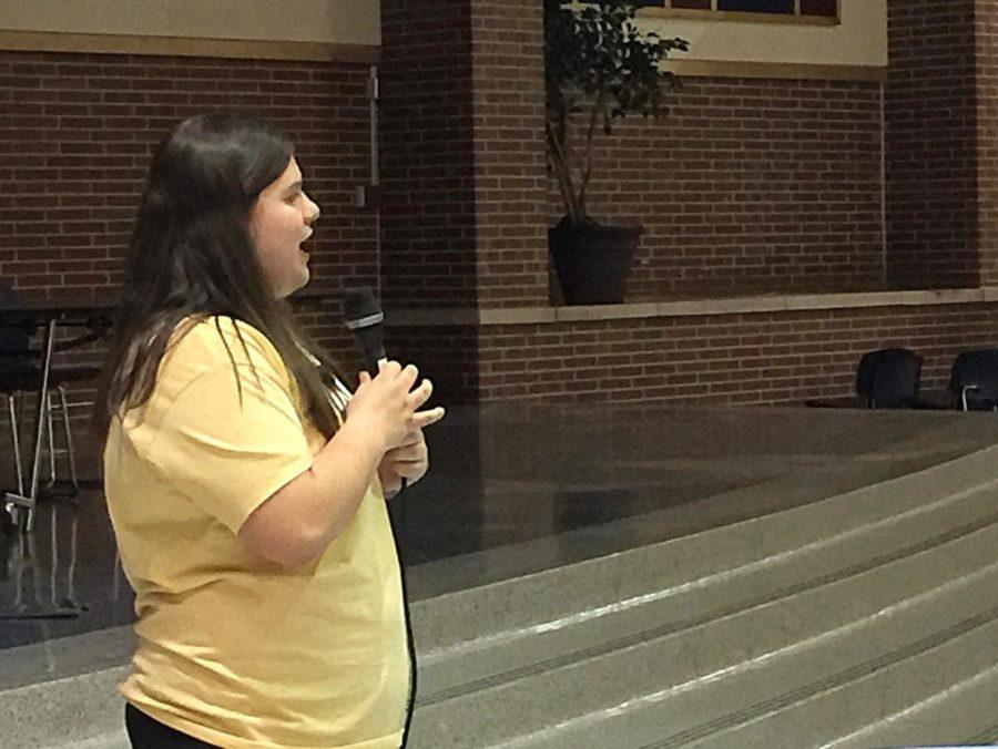 Marie+Kress%2C+FCA+leader+and+senior%2C+speaks+to+FCA+about+her+own+experiences+at+CHS.+She+talked+about+the+role+God+played+in+her+high+school+sports+career.