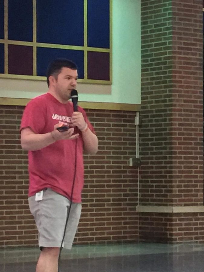 Zach Matchett, fifth and sixth grade pastor at Northview, speaks to FCA on April 13. He discussed the importance of relationships with God and other people, as well as why students should try to reach out instead of isolating themselves.