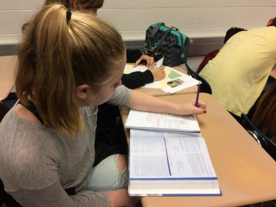 Lauren Roop, House member and senior, works on her homework during SRT. She said she will attend the upcoming House event, Music for Miracles, on April 29.