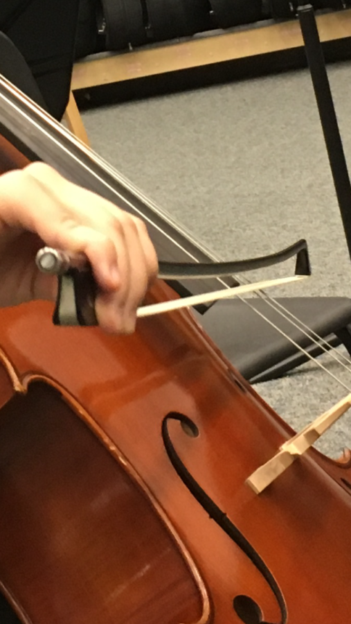 Selin Oh, Camerata cellist and junior, practices for the spring orchestra concert during SRT. Oh said she is excited to be playing a variety of pieces, such as Die Meistersinger by Robert Wagner and I Crisantemi by Giacomo Puccini.