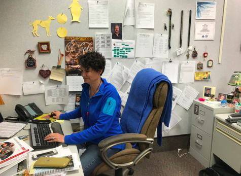 Math department chair Jacinda Sohalski quietly works at her desk. She is currently working to administer the second round of ISTEP exams.