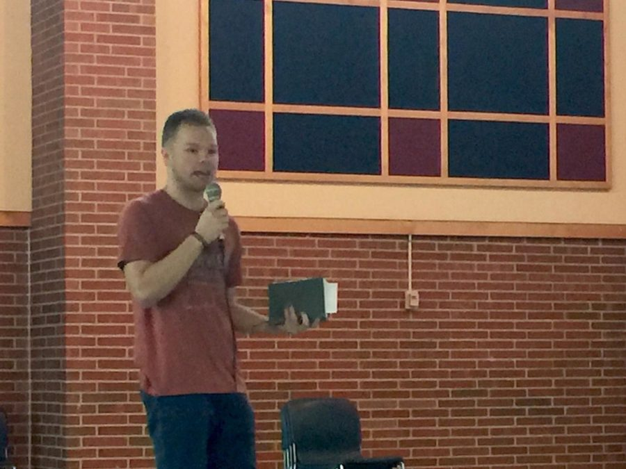 Will Stanton, FCA alumni and guest speaker, talks to FCA about the importance of community in maintaining faith. He said that FCA has helped him become a better person.