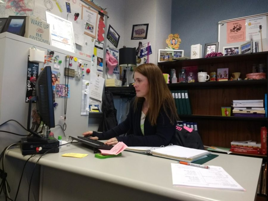 Math teacher Wendy Bass schedules some events. While Bass isn't an integral part of the Board, she helps out with administration related issues.