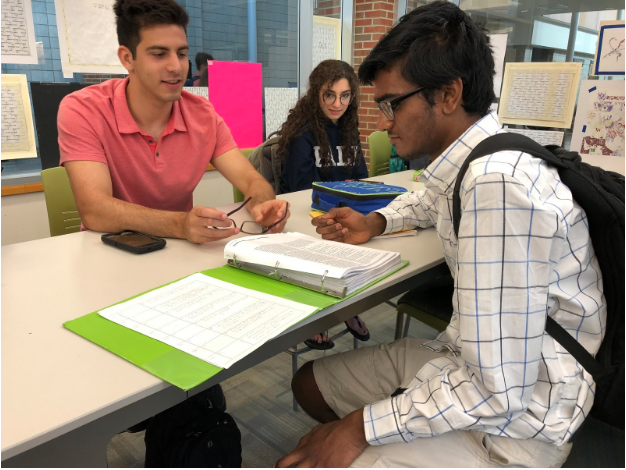 Seniors Nick Gemelas (left) and Amit Kannan (right) study in the library. Kannan said he is a proponent of self-studying for AP Exams because doing so gives students more independence, but acknowledges that such techniques may not be effective for all students.
