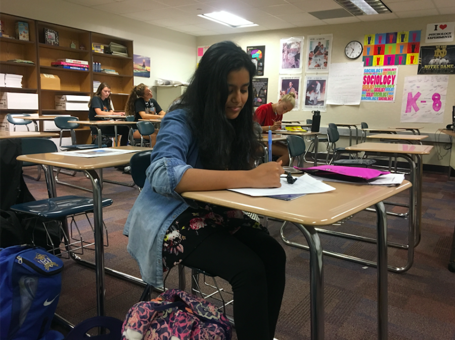 Mentor and senior Fareeha Mouzan works on her homework in SRT. It is her first year as a K-8 Mentor, and she said she's excited to work with the students.