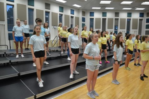 Accents sing and dance to new numbers in their choreographed set. In order to bond closely as a team, the girls had participated in camping activities and will continue to do so on Sept. 7 and Sept. 8.