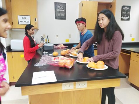 Co-president and senior Mae Shu and other leaders of the club prepared grapefruits for the suturing meeting. Shu said,