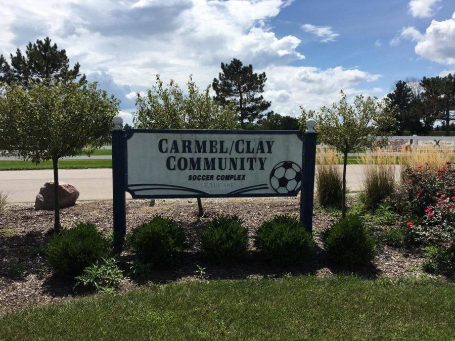 The entrance sign for the CDC Carmel/Clay Community soccer fields. This complex holds nine fields where CDC soccer players come play every weekend during the fall and spring season.