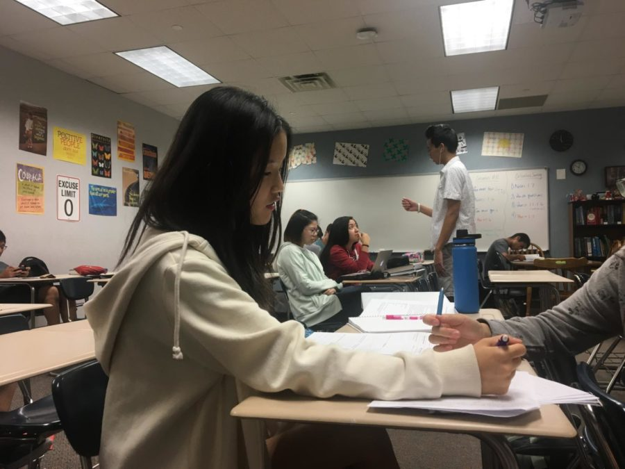 Club member Hannah Na works on homework during SRT. The Design for CHS call-out meeting is on Sept. 12