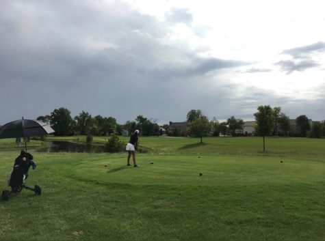 Nina Hecht tees off on the seventh hole at Plum Creek golf course. Hecht said she hopes the team can win a state championship this year.