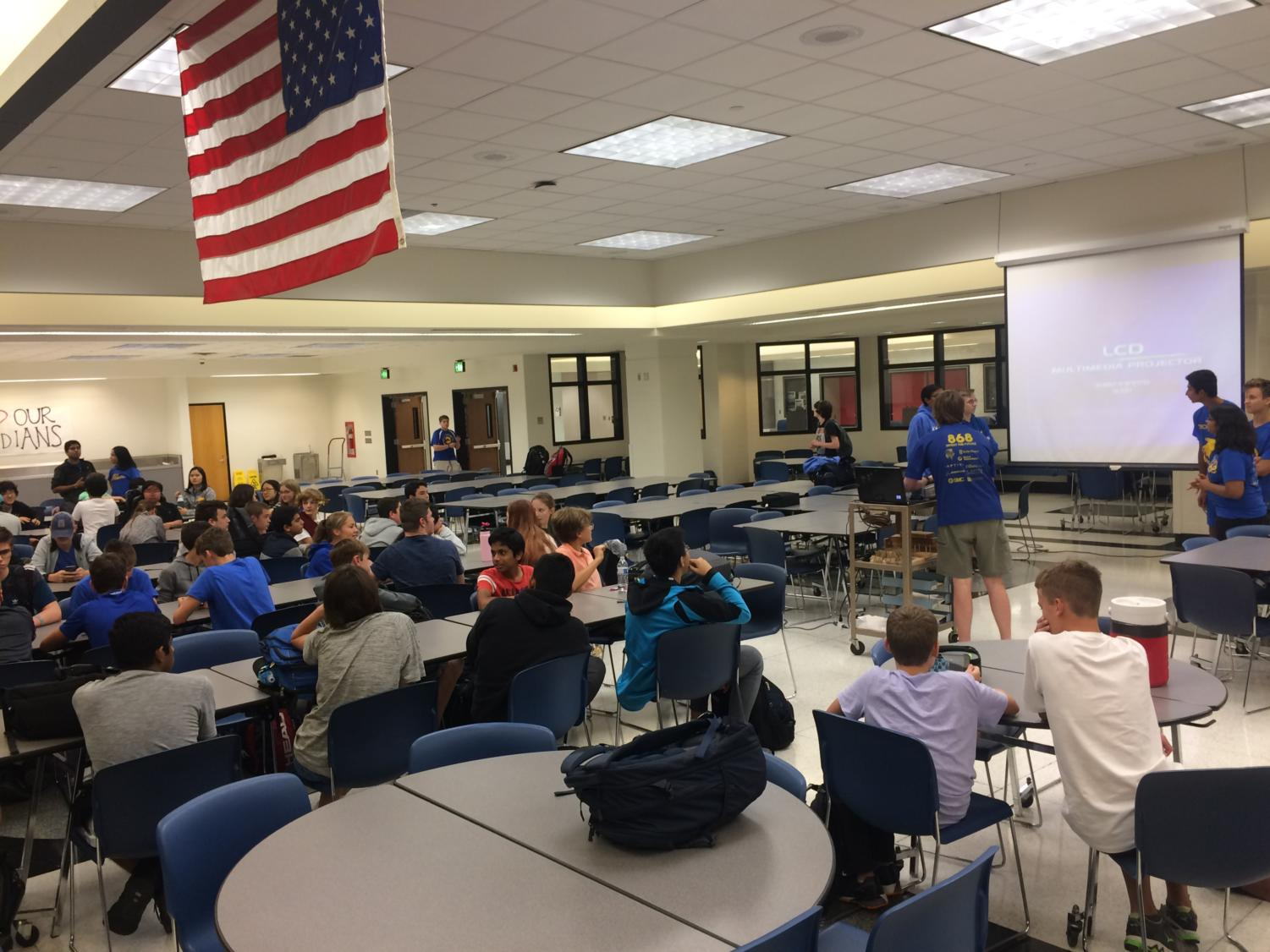 TechHOUNDS leaders greet new members and discuss team expectations at the callout meeting on Sept. 13.