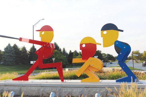 This is the art sculpture, titled Home Run, located on the roundabout at the intersection of 116th St. and Hazel Dell Parkway. Junior Vivian Werstler lives right next to this roundabout and said she agrees funds should go into roundabout sculptures, mentioning she hopes Carmel will continue building these pieces of art despite some negative response from citizens.