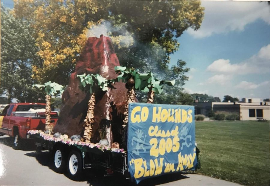 Kathleen Overbeck, teacher and former CHS student, was a class sponsor in 2005 when this float was built. Each class was given a budget to build a float and her class decided to make a volcano float that steamed as it went through the parade.