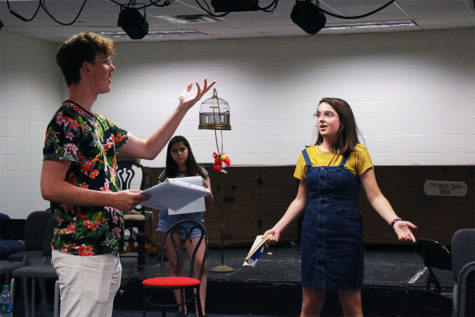 "Senior Allie Crawford (right), the director for the one act ""The Philadelphia"", instructs junior Luke Vreeman (left) on how to better portray his character as Muriel Schafer (back) watches on during the rehearsal. ""The Philadelphia"" is an act set in a New York diner about a man who is stuck in a kind of ""opposite day"" where everything he asks for, he gets the opposite of. In it, Vreeman plays Mark, the man stuck in this dilemma, and Schafer plays the waitress, Sharon."