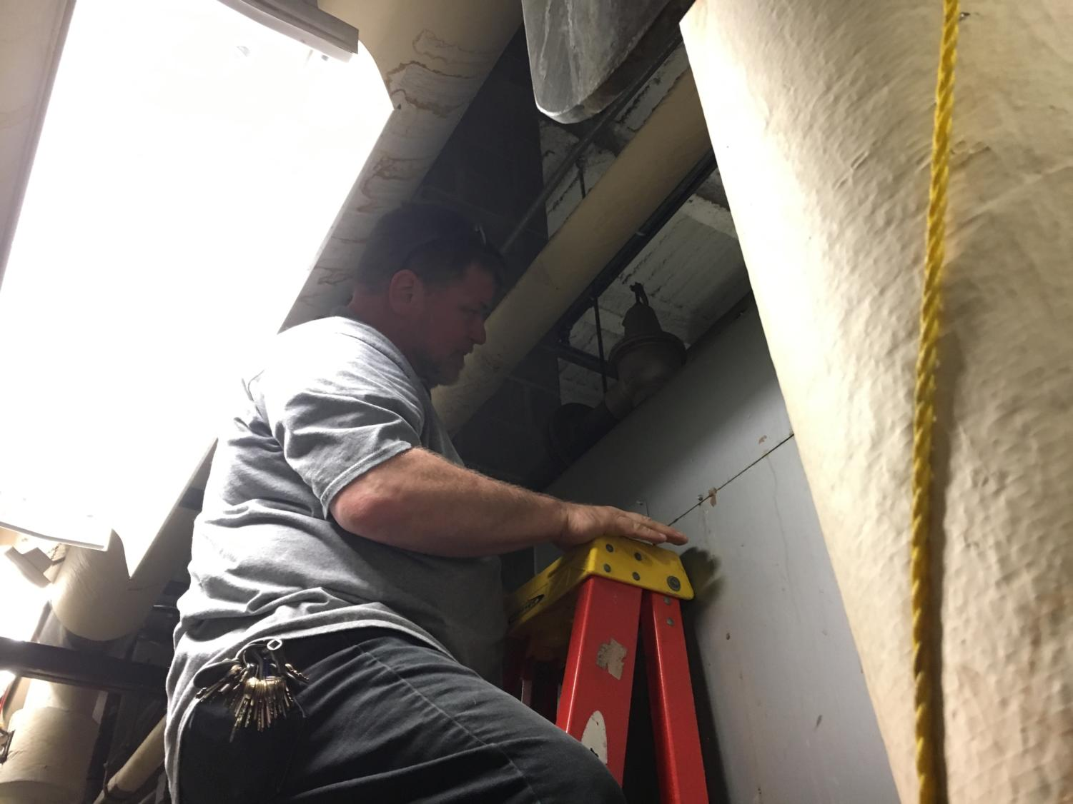 Maintenance worker Fred Napier fixes a busted spring in a boiler relief valve before it can cause further problems for the school. Napier and the other maintenance workers have a variety of things that they do every day to ensure that CHS runs as smoothly as possible.