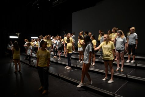 Accents practice a dance number at an evening rehearsal. Along with multiple solo or small group numbers, Accents have performed an ensemble number at the annual Cabaret show.