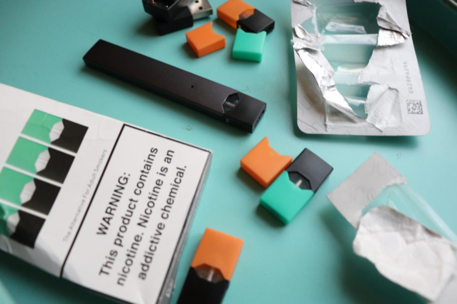 JUULs, nicotine devices, are used regularly by students at CHS. Warning labels are required to be printed on each package to warn users of many negative health consequences.
