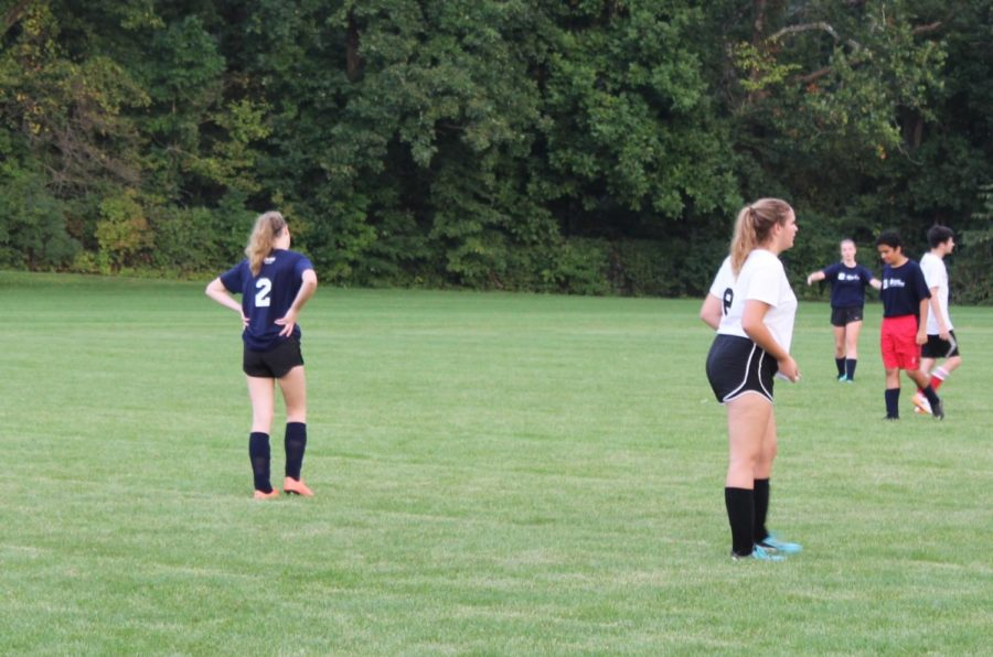 """Maggie Killian attempts to steal the ball during her soccer game at Shelbourne fields. Killian likes CDC because it is not as big as a commitment compared to CHS; """"I like CDC because it's not a huge commitment, we only meet once a week and then for games. Killian said."""