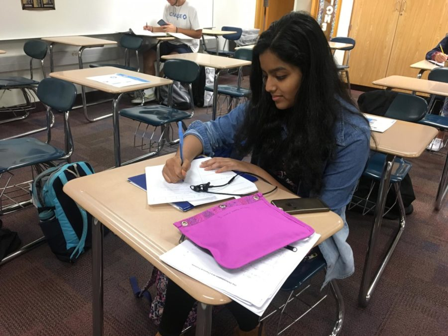 Fareeha Mouzan, K-8 Mentor and senior, works during SRT. The K-8 Mentors look forward to finally meeting their mentees after fall break.
