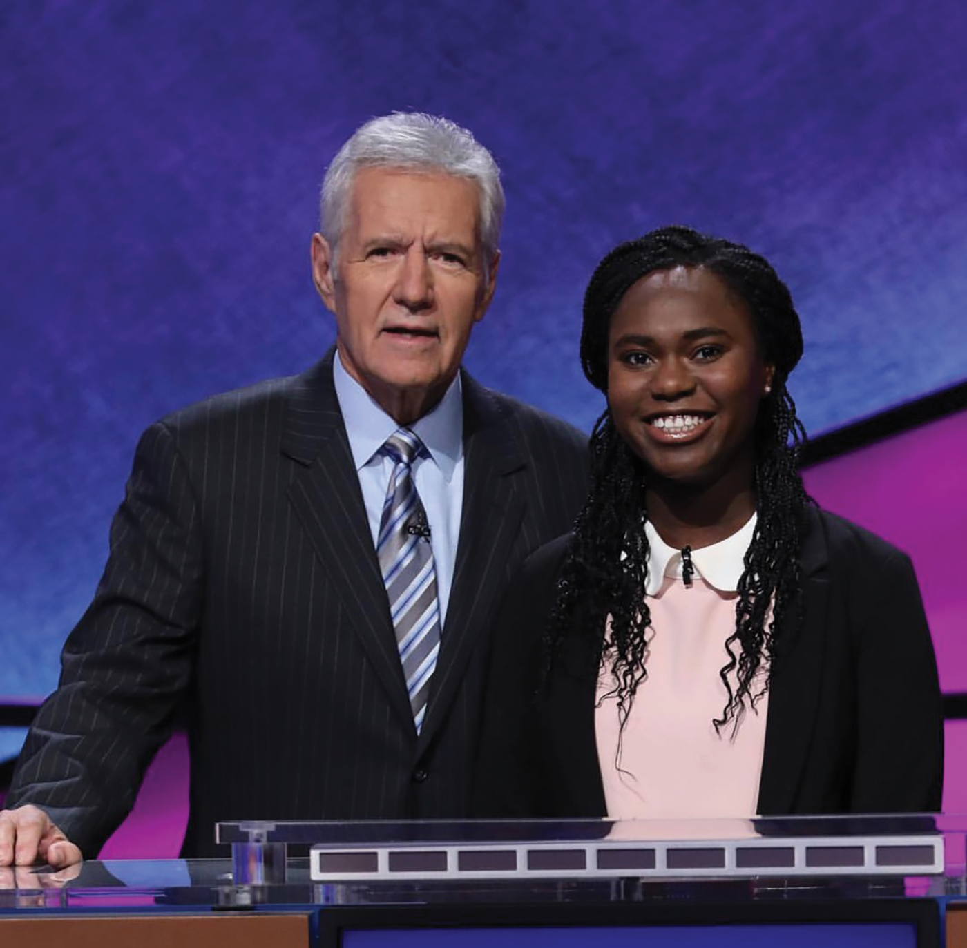 Jeopardy competitor and senior Audrey Satchivi poses with the show's host, Alex Trebek. He has been a host for over 25 years.