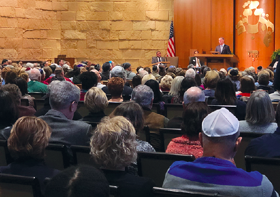 SPEAKING OUT: Joe Hogsett, the current mayor for the city of Indianapolis, speaks at  a community service. It was held during the Indianapolis Hebrew Congregation that took place on Oct. 29.