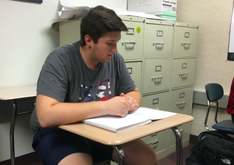 Mentor and senior Cameron Clark studies during SRT. He met his mentees a few weeks ago and said he is looking forward to building strong relationships with them.